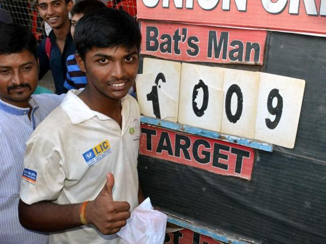 Pranav Dhanawade hits a shot as he smashed a 117-year-old record for the highest number of runs scored in one innings in Mumbai.