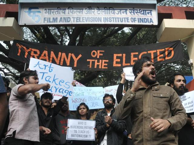 As Gajendra Chauhan assumed office as FTII chairman on Thursday morning, several students stood in protest outside the campus yet again. They faced a lathi-charge and as many as 40 of them were detained.