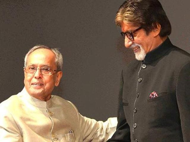 Amitabh Bachchan and President Pranab Mujherjee.