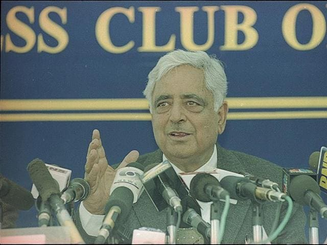 Jammu and Kashmir Chief Minister Mufti Mohammad Sayeed Press Conference - HT Photo by Ajay.
