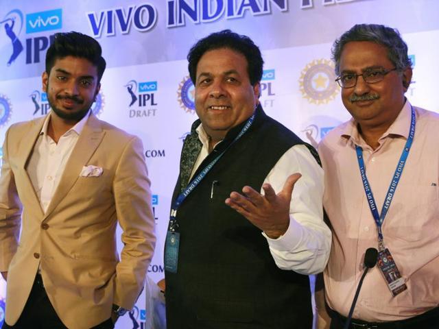 Owner of Rajkot cricket team Keshav Bansal, Chairman of Indian Premier League (IPL) Rajeev Shukla and representative of Pune cricket team Subrata Talukdar.