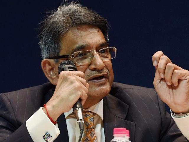 R M Lodha addressing a press conference after tabling the committee's report in New Delhi.