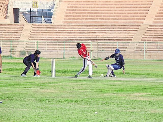 Players during the Louis Braille National Blind Cricket tournament in Jodhpur on Wednesday.