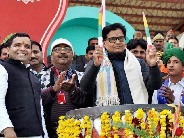 Saifai: Samajwadi Party MP Ramgopal Yadav beats a drum at the inaugural ceremony of Saifai Mahotsav 2015.