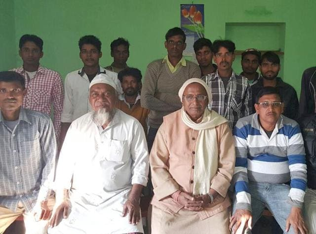 RSS Bihar and Jharkhand chief S N Singh (third from left) with Muslim youth at Hafua village, Pataratu in Ramgarh district of Jharkhand.