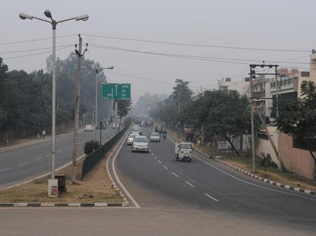 A view of the National Highway  21 where the  elevated road has been  proposed in  Phase 6, in SAS Nagar.