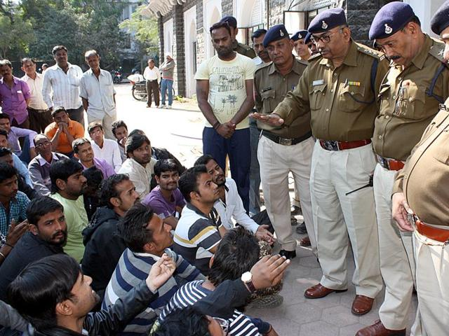 The family members of Saurabh Suryavanshi and residents of Bhagirathpura at Indore  DIG office on Wednesday  January 6, 2016.
