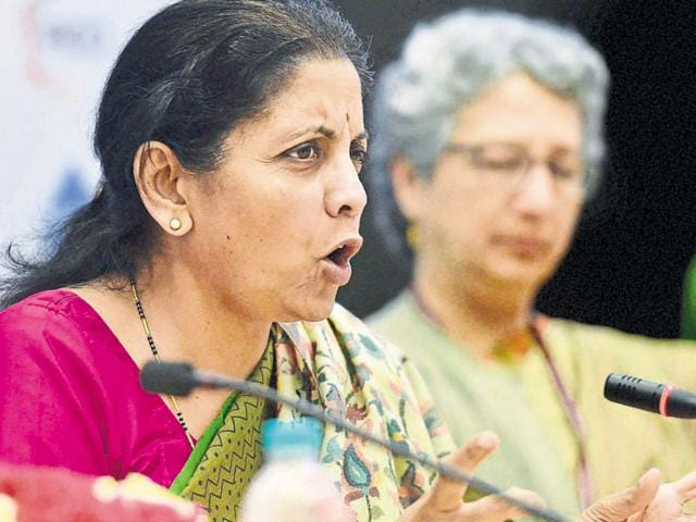 Minister of Commerce and Industry Nirmala Sitharaman addresses the media in New Delhi on Friday.