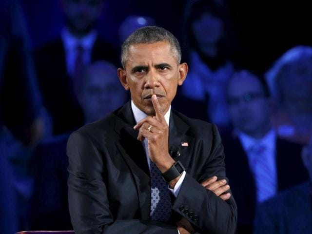 US President Barack Obama participates in a live town hall event on reducing gun violence hosted by CNN's Anderson Cooper at George Mason University in Fairfax, Virginia on Thursday.