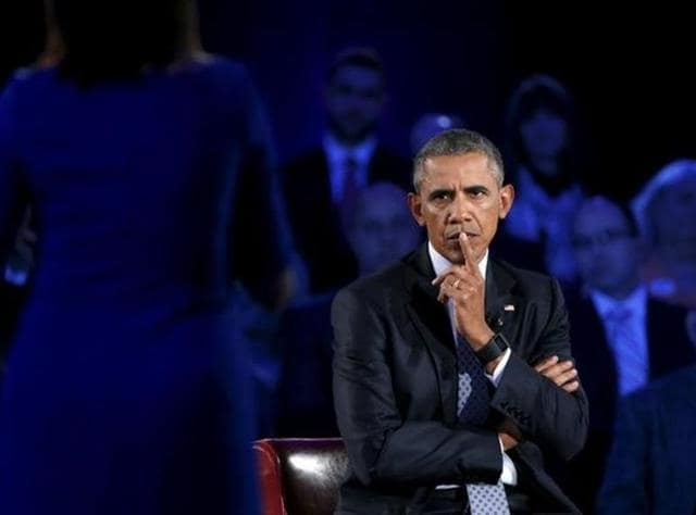 US President Barack Obama participates in a live town hall event on reducing gun violence hosted by CNN's Anderson Cooper at George Mason University in Fairfax, Virginia.
