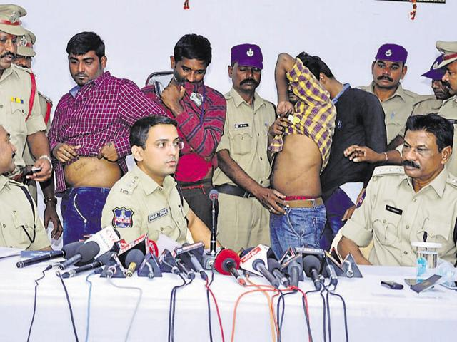 The arrest of Suresh (first from left) led to the busting of the racket in Telangana's Nalgonda district.