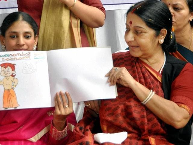 Minister of External Affairs Sushma Swaraj meeting Geeta in Indore.