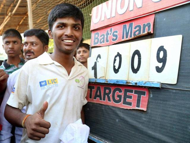 Pranav Dhanawade celebrates after creating a world record by scoring 1009 runs in the U-16 MCA match in Kalyan, Mumbai, on January 5, 2016.