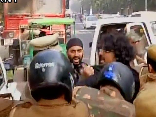 NSUI protests over Ram Janmabhoomi Seminar in Delhi University