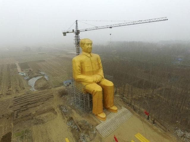 Pictures of the giant statue of a seated Mao over empty fields made worldwide headlines this week.