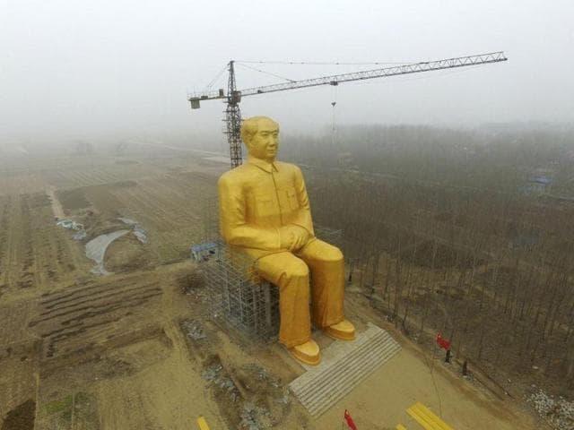 China,Mao Zedong,gold statue
