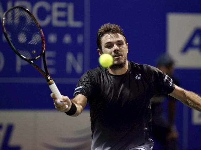 Stan Wawrinka in action against Benoit Pair during their Semi-final match for the ATP Chennai Open 2016.
