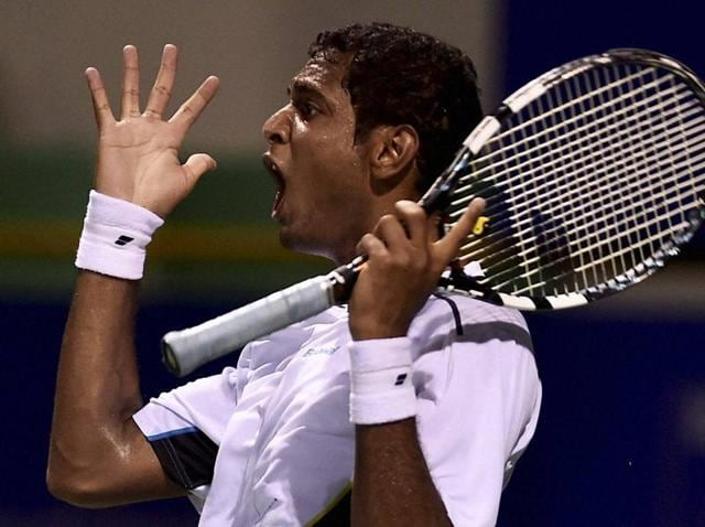 Ramkumar Ramanathan reacts during a match against Alexander Kudryavtsev of Russia at the ATP Chennai Open 2016 .