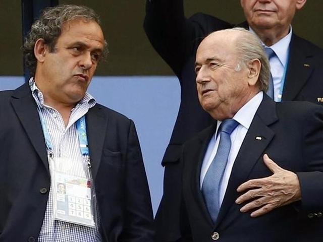 A file photo of former FIFA President Sepp Blatter and Michel Platini during the 65th FIFA Congress.