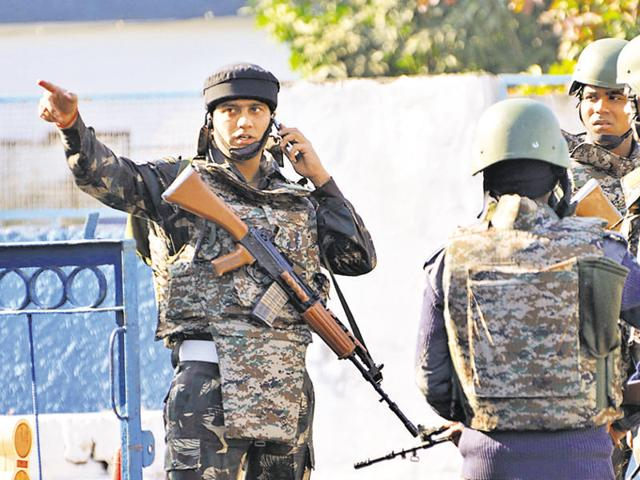 Security personnel inside the Pathankot Air Force base after the end of the military operation against milita Photo BY sameer sehgal Hindustan Times