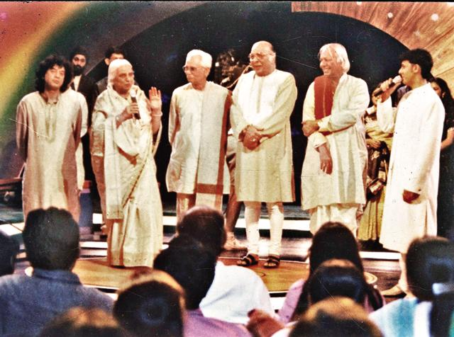 Sonu Nigam (extreme right), with a galaxy of music stalwarts in Sa Re Ga Ma. (HT Photo)