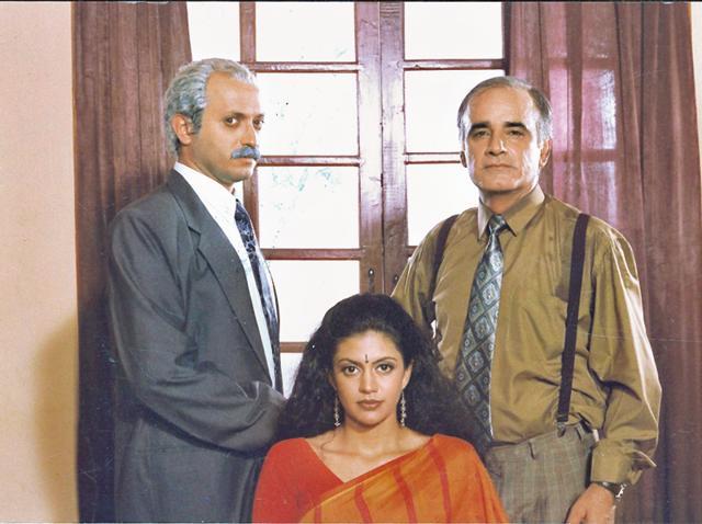 Yatin Karyekar, Mandira Bedi and Amar Talwar in a still from Shanti - HT Photo by Ashok Punatar.