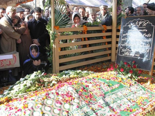 Mehbooba reached the sprawling Dara Shikoh Park along with family members to attend the fourth-day special prayer gathering and immediately headed for a corner where the late chief minister was laid to rest in the shade of a majestic chinar tree on January 7.