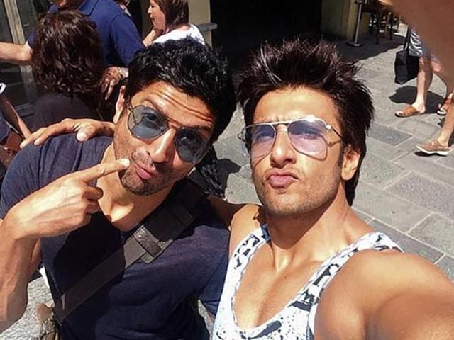 Actor Ranveer Singh (seen here with actor-director Farhan Akhtar) says it's tough for him to see himself on screen and he usually tries to avoid it.