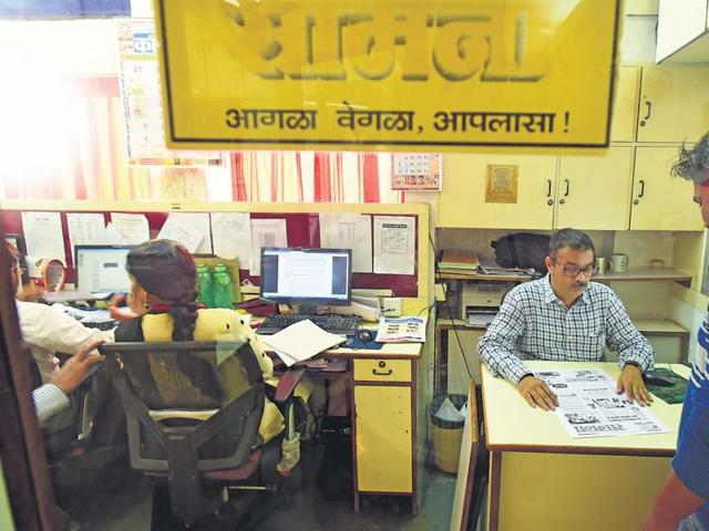 Assistant editor Vidyadhar Chindarkar and other members of the editorial team work on the day's edition of Saamana, the mouthpiece of the Mumbai-based Shiv Sena party. All pages of the Marathi daily are shared with party MP Sanjay Raut, its chief editor.