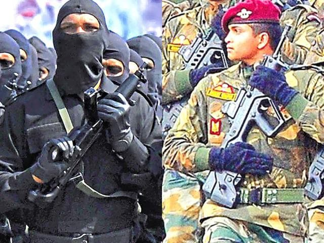 Combination photograph of a NSG  commando and a  PARA COMMANDO that was later redesignated as Special Forces.