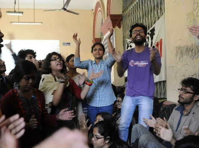 Students protest outside V-C's chamber as they demand for students' union elections in Jadavpur University.