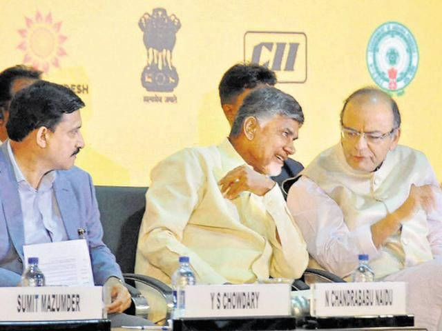 MoS (science & technology) YS Chowdary, Andhra chief minister N Chandrababu Naidu, finance minister Arun Jaitley and commerce minister Nirmala Sitharaman at Vizag on Sunday.