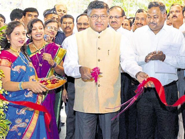 Telecom minister Ravi Shankar Prasad inaugurating Indian Post's e-Commerce Parcel Processing Centre in Mumbai on Saturday.