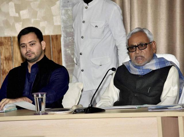 Bihar chief minister Nitish Kumar and deputy CM Tejashwi Yadav at a review meeting in Patna.