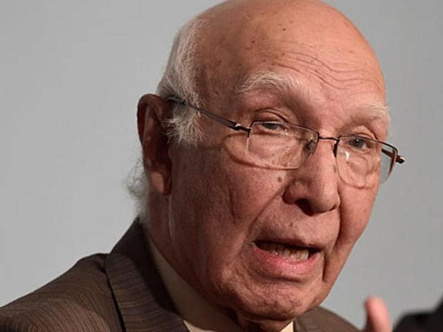File photo of Sartaj Aziz, Pakistan PM's advisor on foreign affairs. Aziz said on Saturday, January 9, 2016, that foreign-secretary level talks between India and Pakistan will happen as per the schedule.