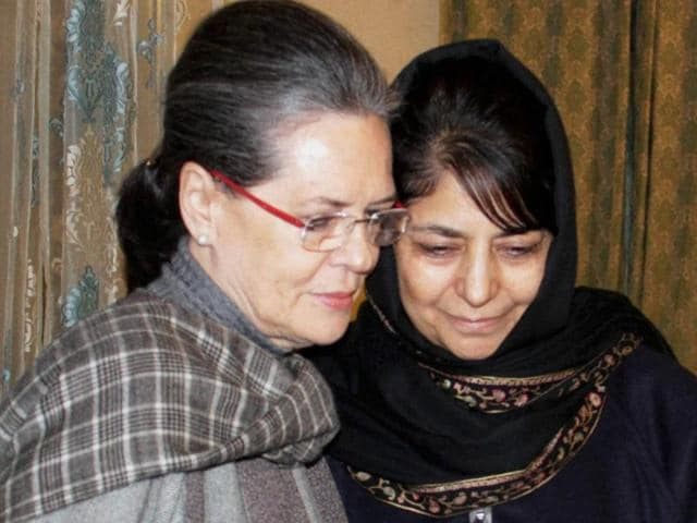 Congress president Sonia Gandhi hugs Peoples Democratic Party (PDP) chief Mehbooba Mufti Sayeed during her visit Jammu and Kashmir after the demise of chief minister Mufti Mohammad Sayeed, in Srinagar.