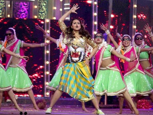 Sonakshi Sinha performing at the 22nd Annual Star Screen Awards 2016 in Mumbai on Friday.