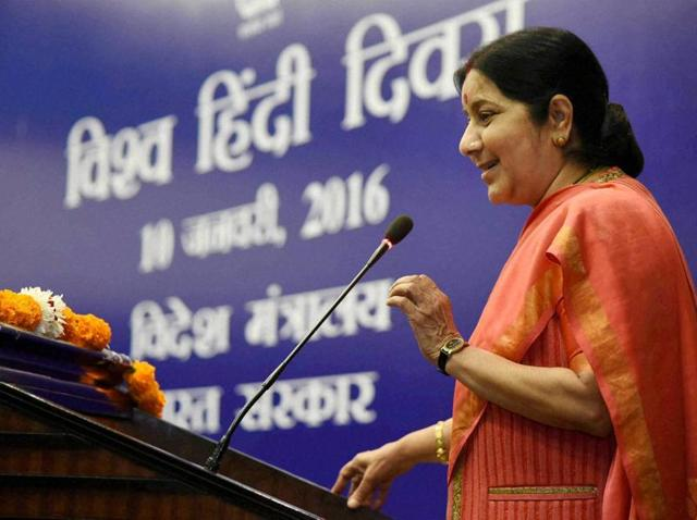 External affairs minister Sushma Swaraj addresses the gathering on World Hindi Day in New Delhi on Sunday.