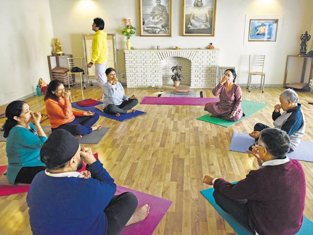 A 'Gentle Yoga' class in session at the Sivananda Yoga Vedanta Centre in Delhi. The centre introduced the course last year for those over 50.
