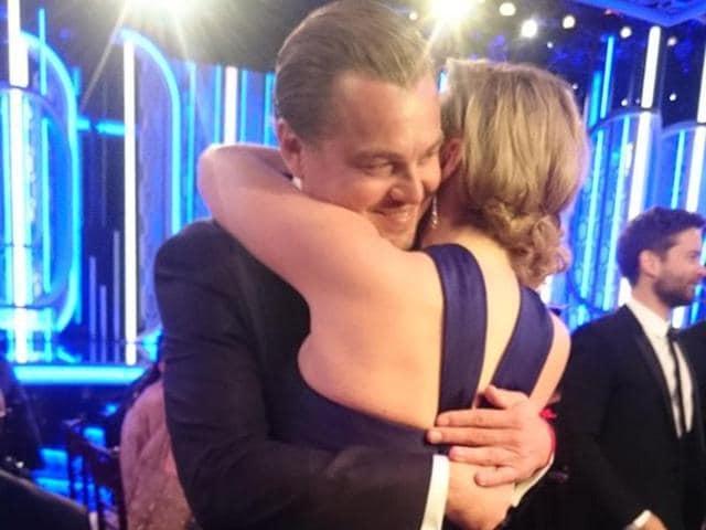 I'll never let go Jack: Kate Winslet and Leonardo DiCaprio have a Titanic reunion.