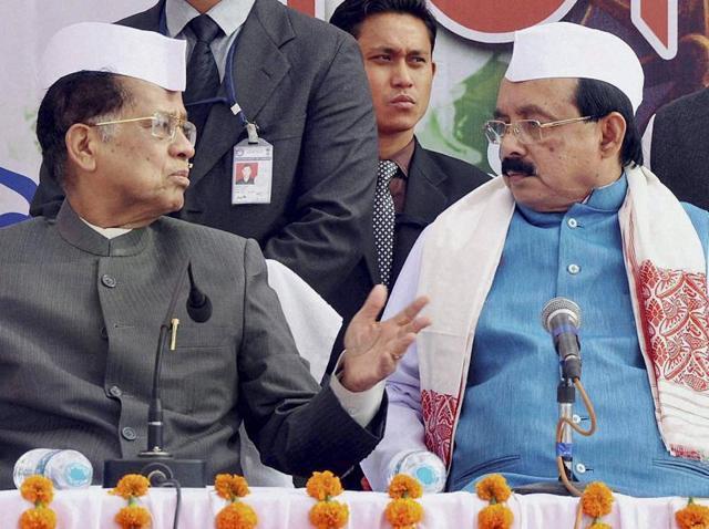 "Assam chief minister Tarun Gogoi and Assam Pradesh Congress Committee (APCC) president Ajan Dutta (R) during the Pub Guwahati Constituency Booth Micro Management Program ""Gandhi Sabha"" at Chandmari in Guwahati on Monday."