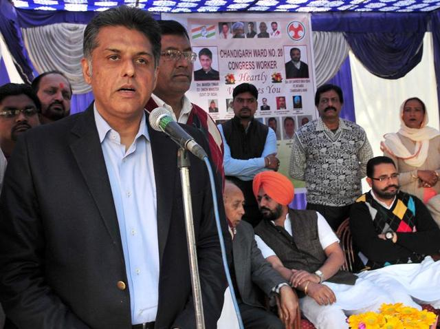 Congress senior leaders Manish Tiwari, adressing public meeting in Sector 29 Chandigarh.