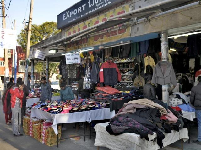 Encroachment in market of sector 15 in Chandigarh on Sunday.