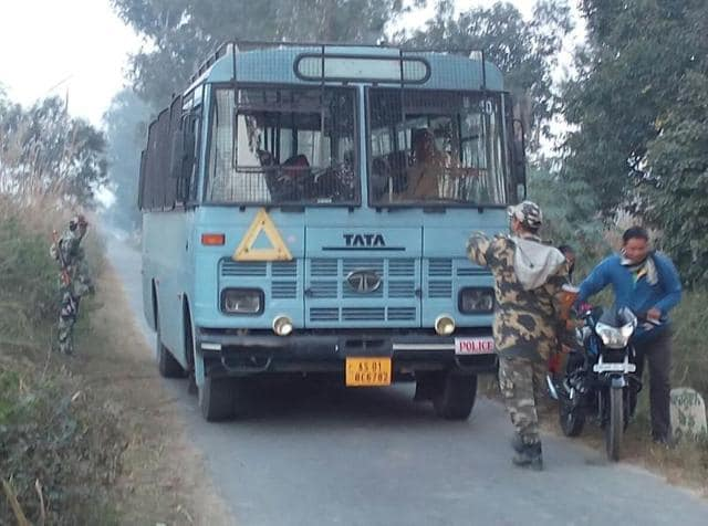 Security personnel in the villages around Tibri Military Station during search operation on Monday.
