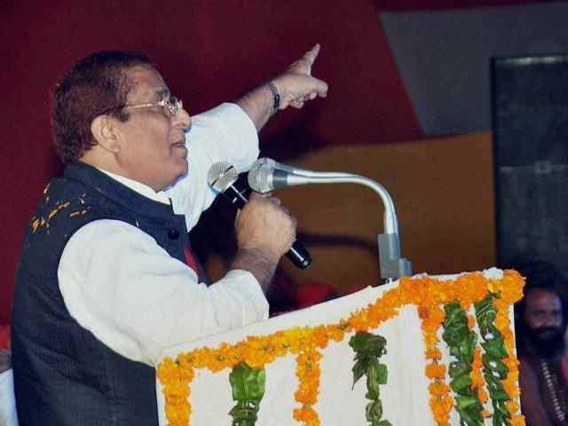 Samajwadi Party leader Azam Khan during 'Kalki Mahotsav' in Sambhal, Uttar Pradesh.