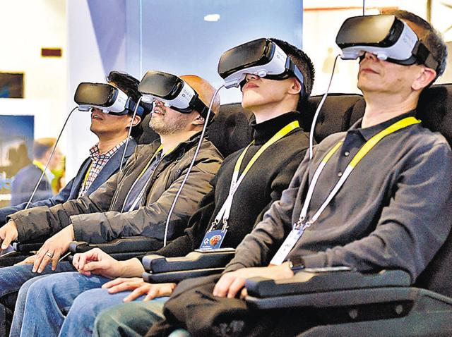 Samsung virtual reality stall at CES 2016 in Las Vegas. The game is now shifting to experiences smartphones can provide through other devices such as these VR sets.