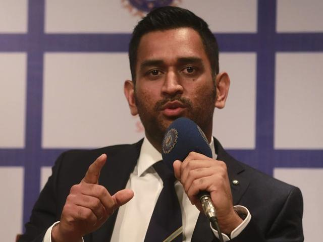 M S Dhoni speaks during a press conference in Mumbai on Tuesday before the departure for the Australia tour.