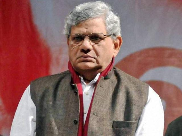 CPI(M) General Secretary Sitaram Yechury observing one minute silence for the militant attack at Pathankot.