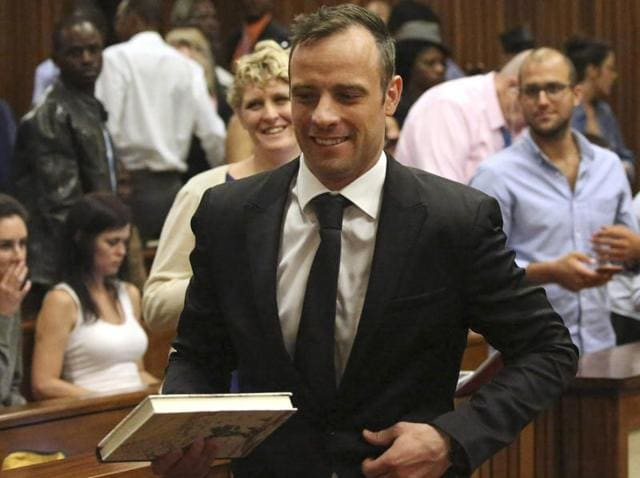 A file photo of South African paralympian Oscar Pistorius  arriving to the Pretoria High court for a bail hearing.