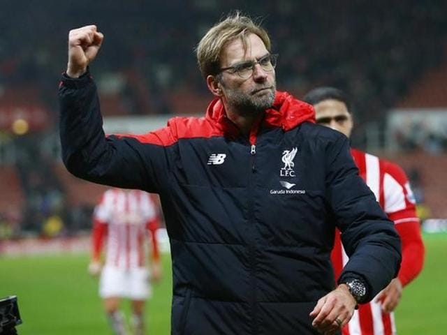 Liverpool manager Juergen Klopp celebrates at the end of the match against Exeter City.